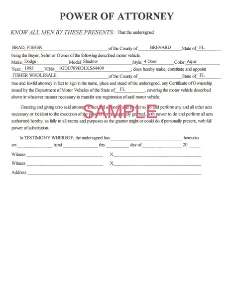 9 power of attorney form for car plan template