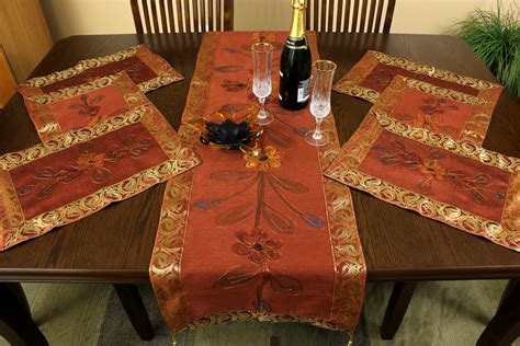 Table Runner And Placemat Set painted 7 placemat table runner set banarsi