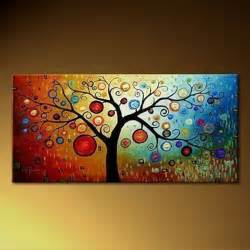 colorful canvas colorful tree of modern painting on canvas