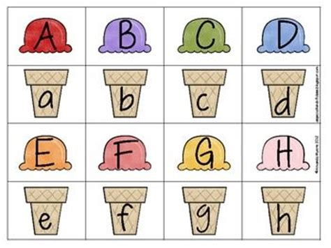 printable alphabet matching game ice summer ice cream and cases on pinterest