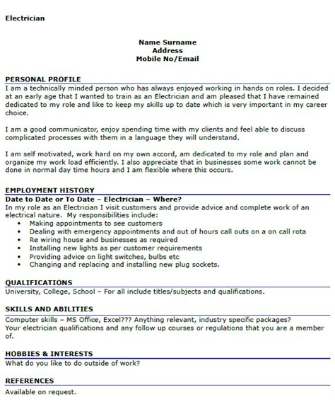 electrician resume templates electrician cv exle icover org uk