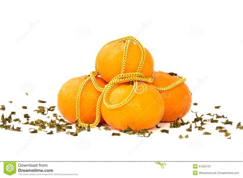 new year lucky oranges gold necklace and mandarin oranges stock photo image