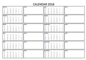 2018 Calendar In Excel Free 2018 Calendar Excel Template A3 With Notes