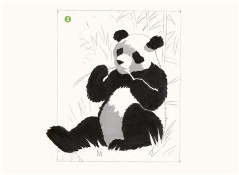 imagenes a blanco y negro con sombra dibuja un oso panda con temperas