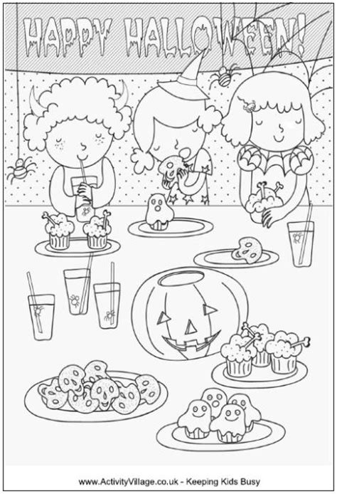 halloween coloring pages activity village halloween party colouring page