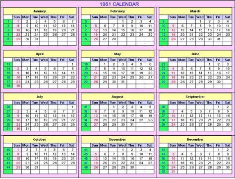 Calendario De 1961 1961 Calendar