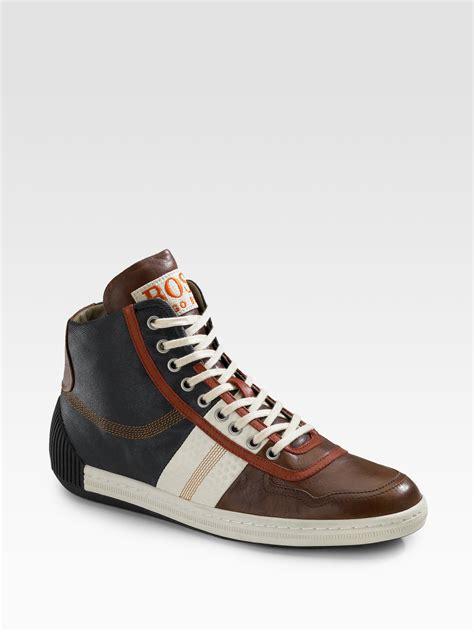 orange sneakers orange colorblock hightop sneakers in brown for