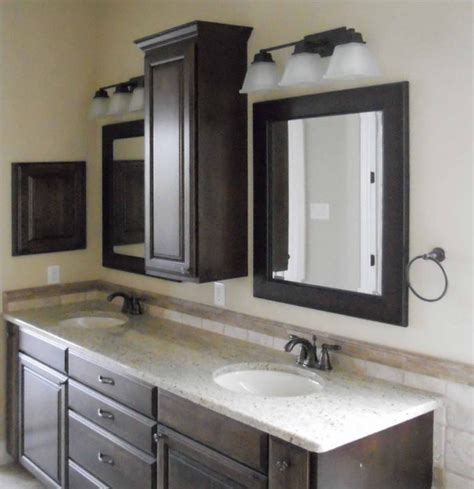 Bathroom ideas black stained wood vanity cabinet with white marble counter top and double sink