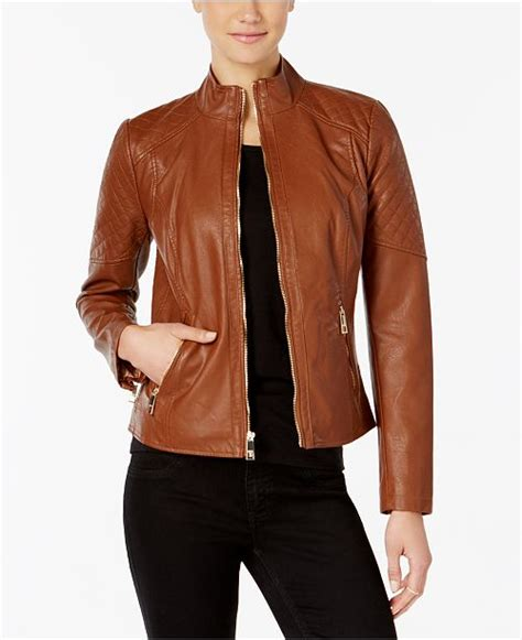Faux Leather Stand Collar Jacket guess stand collar faux leather jacket coats