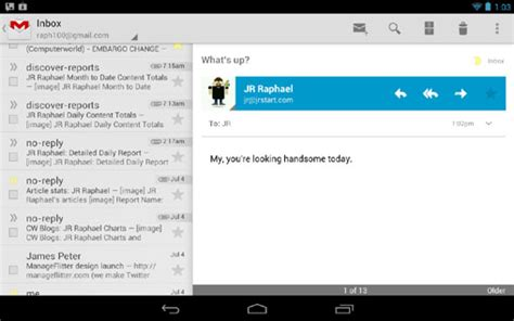 html layout gmail confirmed android 4 1 uses different layouts for