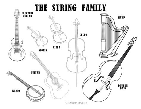 musical instruments coloring pages to print musical instruments coloring sheet the string family