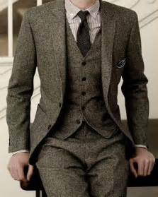 Lush winter wool 3 piece suitmen clothing grey suits 3 piece suits