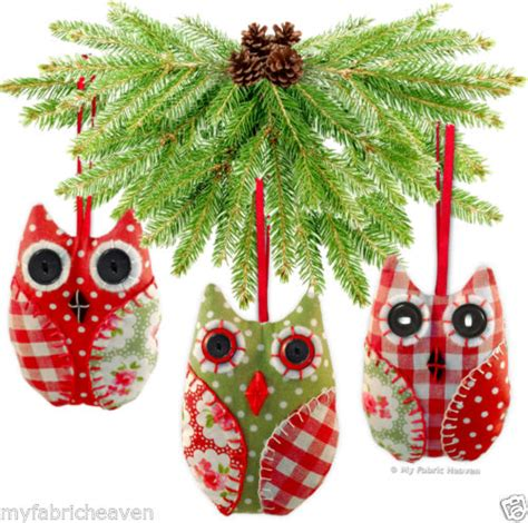 Patterns For Fabric Christmas Tree Decorations | owl handmade fabric christmas tree decoration wedding