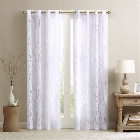 sheer curtains panels madison park vina sheer bird curtain panel contemporary
