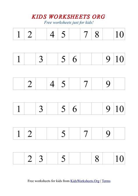 free printable number worksheets 1 10 1 10 missing number worksheet worksheets org