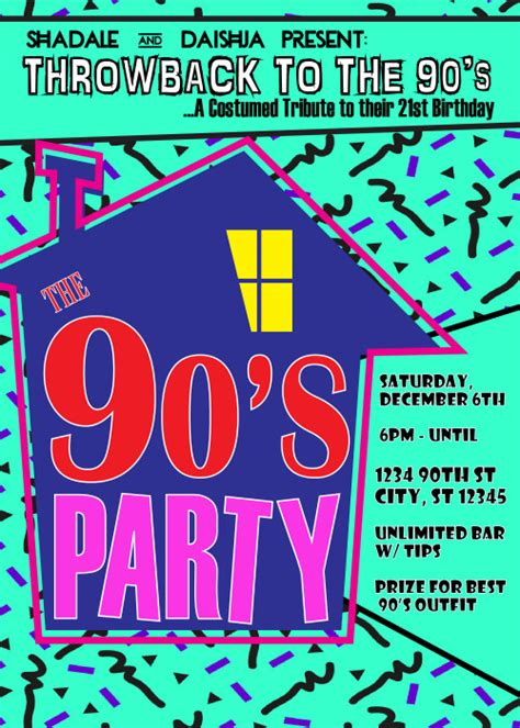 90 S Theme House Party Digital Birthday Invitation Creativeblueprints On Artfire 90s Invitations Template Free