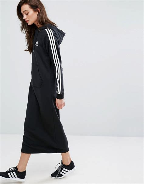 Adidas Maxi Dress adidas originals black three stripe hoodie maxi dress