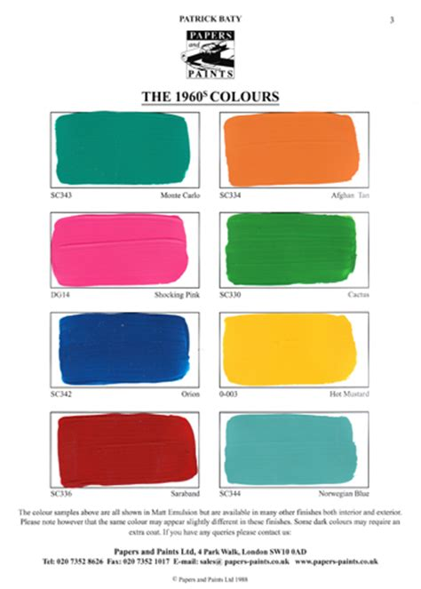 60s colors another look at 1960s paint colours baty