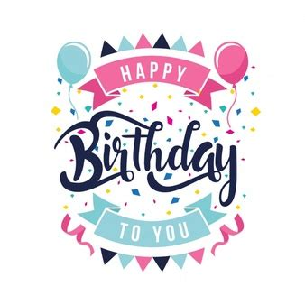 design happy birthday photo happy birthday lettering party design vector free download