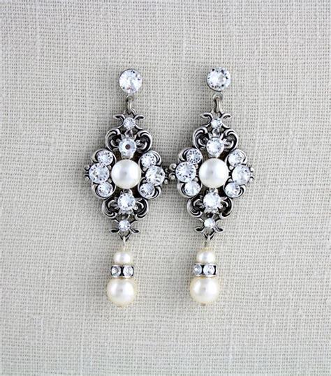 Vintage Style Bridal Pearl Earrings Pearl Earrings Wedding by Pearl Bridal Earrings Wedding Earrings Bridal