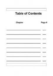 Table Of Contents Template For A Book Report by Teaching Worksheets Book Report