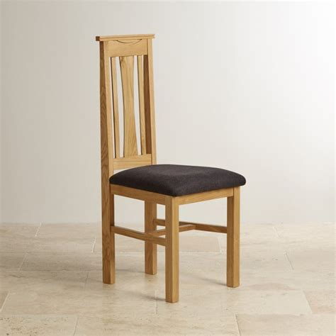 Tokyo Natural Solid Oak Dining Chair Plain Black Fabric Black And Oak Dining Chairs