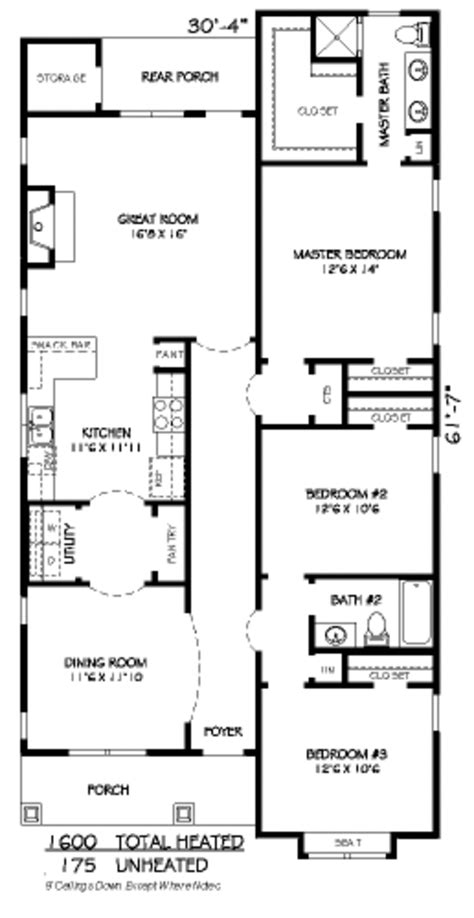 Craftsman Style House Plan 3 Beds 2 Baths 1600 Sq Ft Home Plans 1600 Sq Ft 3 Bedroom