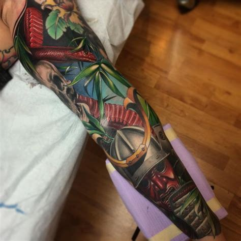 realistic color japanese sleeve with samurai geisha and