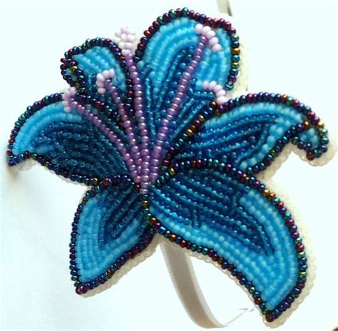 beadwork blue blue flower headband beadwork by ashundiin