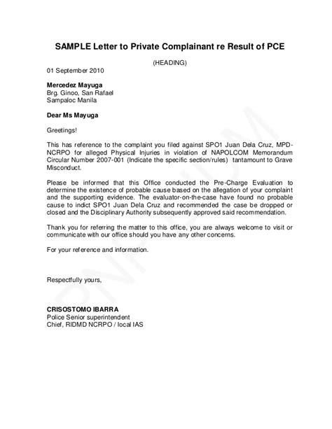 Endorsement Letter For Leave Of Absence Pnp Pre Charge Evaluation And Summary Hearing Guide