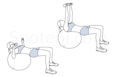 boat pose chest press stability ball chest press illustrated exercise guide