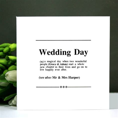 Wedding Definition by Personalised Wedding Day Dictionary Definition Card By