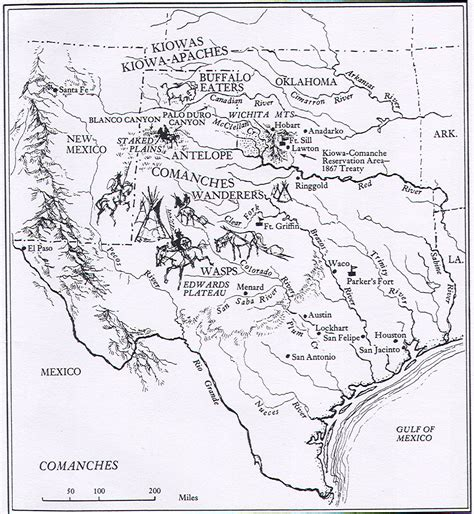 the texas map comanche indians the handbook of texas texas state historical association tsha
