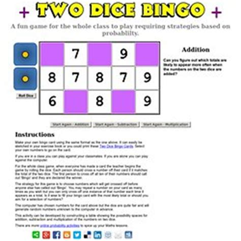 dice bingo printable maths resources page12 pearltrees
