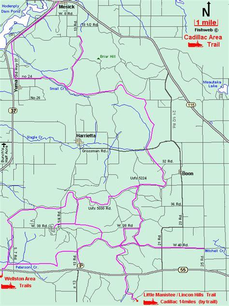 cadillac snowmobile trail report michigan snowmobiling cadillac snowmobile trail map