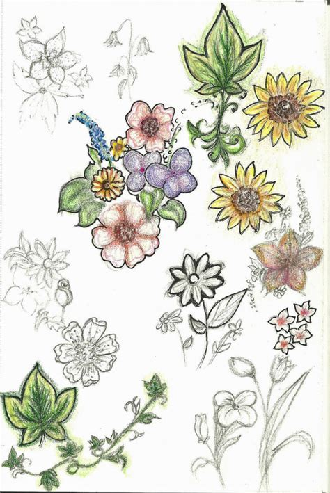 watercolor tattoo emra 90 colorful flowers drawings flower drawings