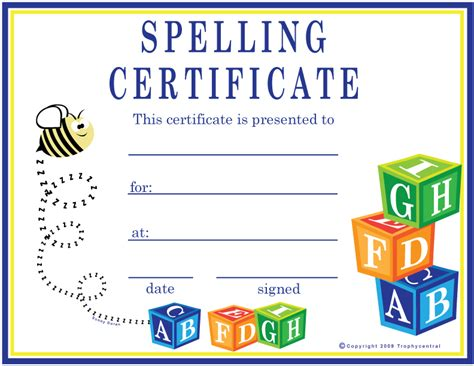search results for spelling bee certificates printable