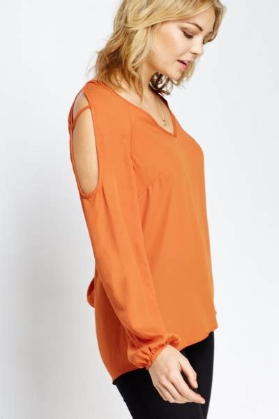 Sleeve Cutout Blouse rust cut out sleeve blouse just 163 5