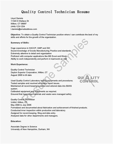Quality Technician Resume by Resume Sles Quality Technician Resume Sle