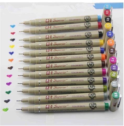 superior 12 colors sketch micron pen 0 5mm fineliner in