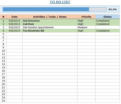 Free Excel To Do List Template