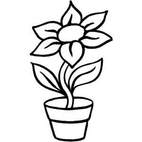 coloring page of a flower pot flower in pot coloring page