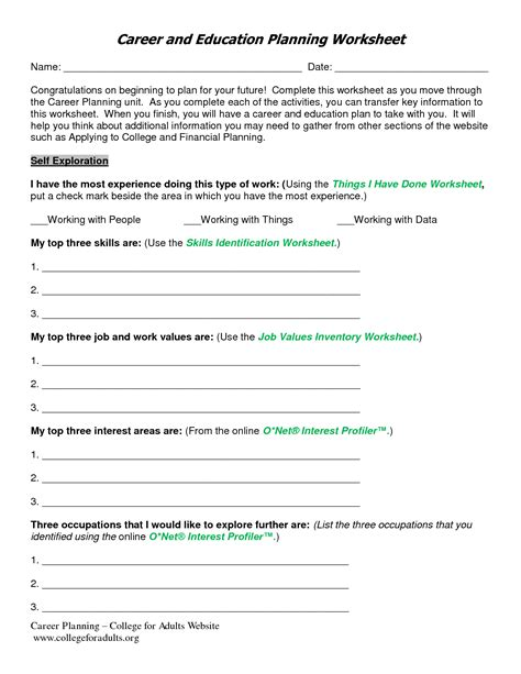 career planning worksheets for highschool students