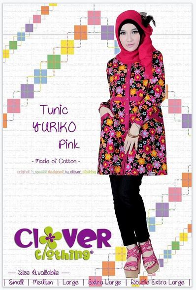 Tunik Julieta By Clover Clothing Blouseatasan Muslim koleksi busana muslimah baju muslim tunik yuriko clover clothing
