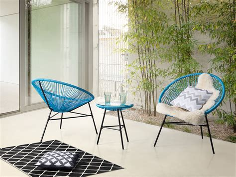 Garden Bistro Table And 2 Chairs Garden Bistro Set Table And 2 Chairs Mexican Chair Weave Pattern Blue Ebay