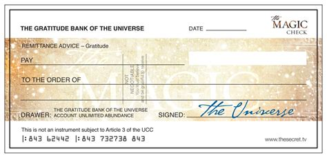 Checks Out Own by The Magic Check From The Universe The Secret Official