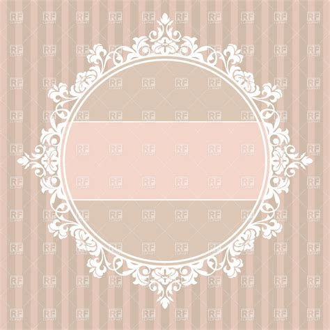 vintage frame with lace edging on striped background