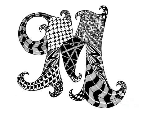 M Drawing Design by Letter M Monogram In Black And White Drawing By Nan Wright