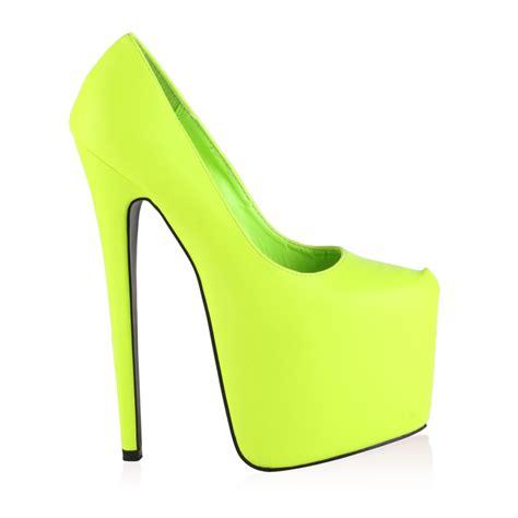 new womens neon green platform stiletto 7 inch high