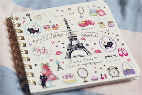 art journal layout paris bike cats cute eiffel tower notebook image 327527